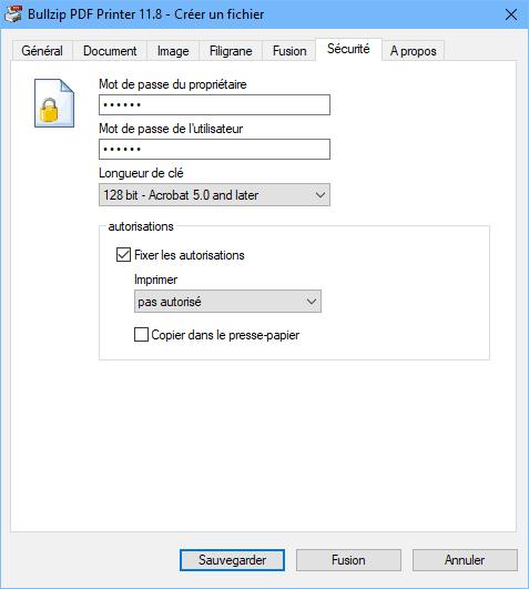 Bullzip PDF Printer - sécurité