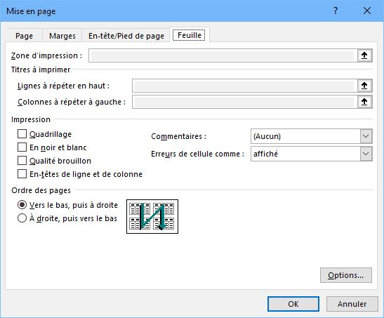Excel - dialogue mise en page