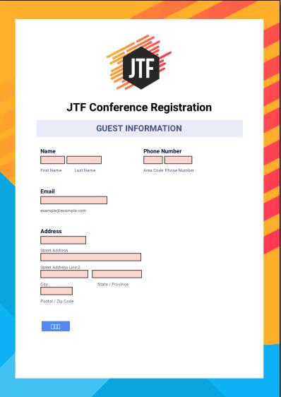 Formulaire PDF construit avec JotForm