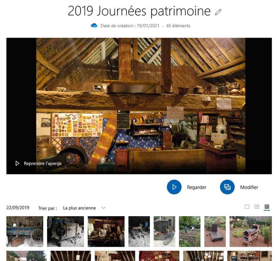 Détail d'un album dans Microsoft Photos