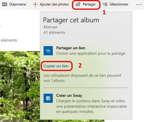 Partager un album photo avec oneDrive