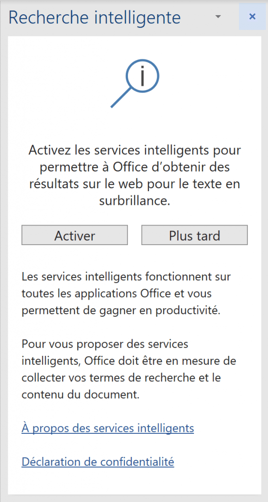 Office - activation recherche intelligente