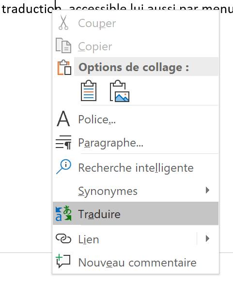 Office - menu contextuel traduire