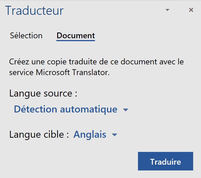 Office - traducteur document