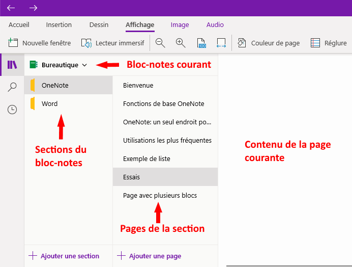 bloc-notes, sections et pages dans OneNote pour Windows 10