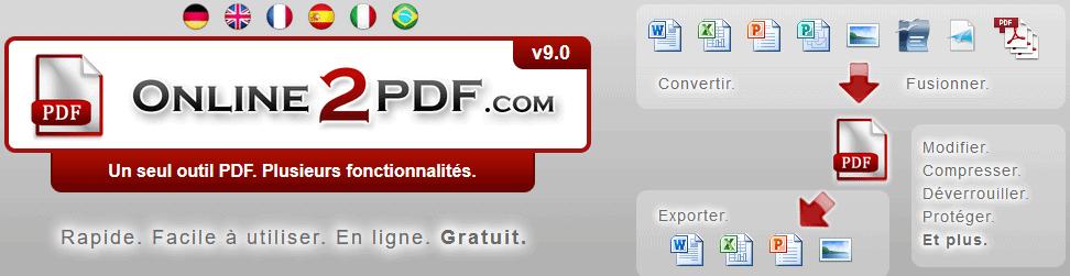 Service en ligne Online2PDF pour convertir un PDF en Word, entre autres
