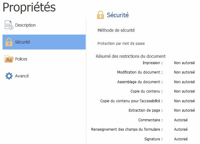 Propriétés sécurité PDF