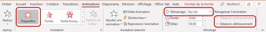 Création des animations des rectangles