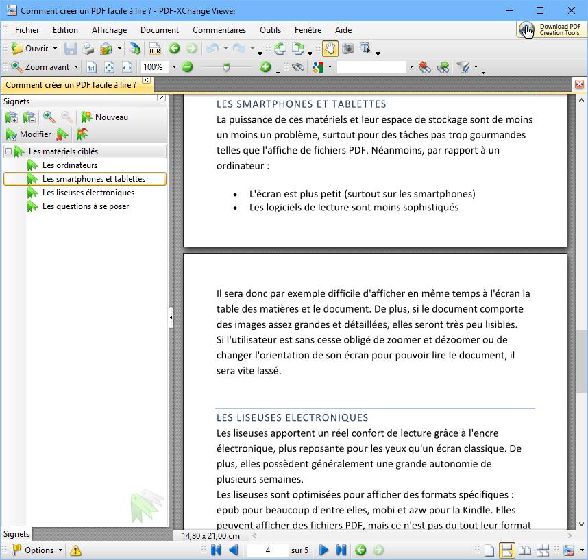 Signets d'un document PDF