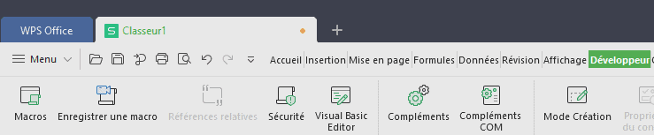 WPS Office ruban développeur