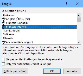 Word - langue