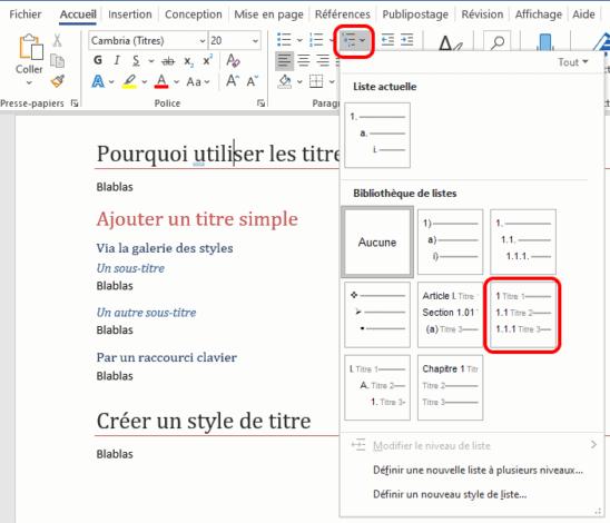 Utiliser une liste à plusieurs niveaux pour numéroter les titres Word