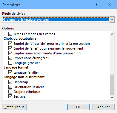 Word - paramètres analyse avancée
