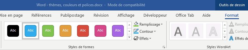 ruban contextuel Format des outils de dessin de Word